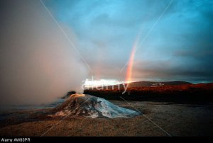 Rainbow and steaming geothermal vent near the Langjokull glacier Iceland